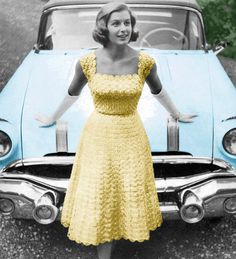 Vintage Crochet Pattern 1950s Lacy Evening Dress. Could you imagine? Anyone have ideas as to where I could wear this? I REALLY want an excuse to make one! $3.99 pattern