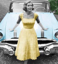 Vintage Crochet Pattern 1950s Lacy Evening Dress