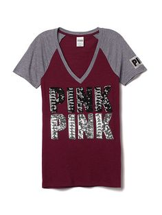 Bling Fitted V-Neck Tee - PINK - Victoria's Secret