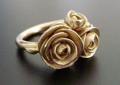 Peonies - SAMPLE SALE - Solid Peach-Gold Ring w/ Handsculpted and Cast Peonies - Ready to Ship (Sizes to So pretty.either in silver or burnished gold.So pretty.either in silver or burnished gold. Jewelry Rings, Silver Jewelry, Jewelry Accessories, Jewelry Design, Unique Jewelry, Jewellery, Metal Nobre, Peach Peonies, Diamond Are A Girls Best Friend