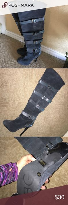 BCBG grey over the knee suede boots Suede, buckles, over knee/thigh high depending on your height  (Im 5'8) it's over the knee) worry maybe once. Color is dark grey. Size 8.5 BCBGeneration Shoes Over the Knee Boots