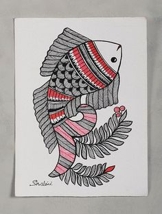Buy Fish Madhubani Painting (6in x 8in) Online at Jaypore.com
