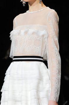 Dress with delicate lace & tiered frills; black & white fashion details // Alberta Ferretti