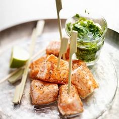 Salmon Skewers with Pepper, Lime and Salsa Verde