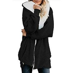 Womens solid zip down hooded fluffy coat cardigans outwear with pocket  autumn outerwear 2018 new female overcoat 096459429