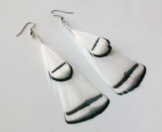 Winter White Pheasant Fly Fishing Feather Earrings - 3 1/2 Inches Long