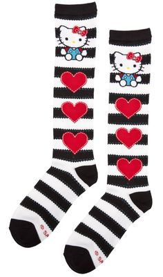HELLO KITTY STITCHED STRIPE SOCKS - Accessories - Gals