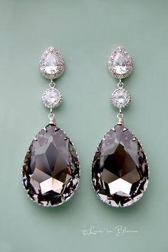 Elegant and sophisticated Black Diamond chandelier bridal earrings By Luxe in Bloom