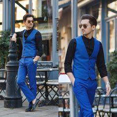 Blog post: http://themysteriousgirl.ro/2015/11/blue-suit/  Instagram: https://instagram.com/adriansunriseinc/  blue suit topman black shirt shoes asos outfit men vest pants