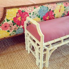 remember, you can always reupholster your vintage finds. check out this cute bamboo headboard! Such a great shape. I'd put a fun patterned print on the bench too. Bamboo Furniture, Cool Furniture, Bamboo Headboard, Bamboo Crafts, Chinoiserie Chic, Furniture Inspiration, Cool Patterns, Furniture Makeover, Toddler Bed