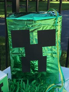 Made from an old box and foil tissue paper from the Dollar Store. Minecraft Birthday Party, 7th Birthday, Birthday Ideas, Birthday Parties, Old Boxes, Minecraft Ideas, Creepers, Tissue Paper, Dollar Stores