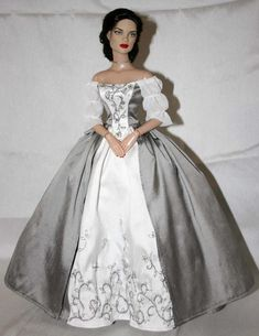Barbie Wedding Dress, Barbie Gowns, Barbie Dress, Wedding Dresses, Wedding Dress Sewing Patterns, Outlander Wedding, Grey Gown, Gown Pattern, 18th Century Fashion