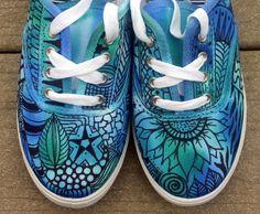 Zentangle sneakers, shoes, sneakers, zentangle art, original art, OOAK, womens sneakers, Custom sneakers, handpainted. $35.95, via Etsy.