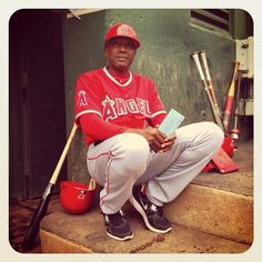 """#Angels coach Alfredo """"Fredo"""" Griffin holds the lineup card in the dugout before game against the A's in Oakland. (By @Bev Mangin / SI) #MLB"""