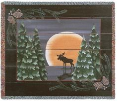 $49.99 Moose Throw with a whimsical depiction of a moose in the moonlight surrounded by pine trees and pine cones is perfect for the lodge decor. Coordinate your decor with the matching wall hanging available in two sizes to choose from. Tapestry wall art makes a wonderful gift. http://www.delectably-yours.com/Cabin-Lodge-Throw-Blankets-C60.aspx