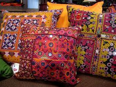 Intricately embroidered vintage Indian mirror cloth