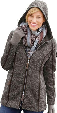 Collection L. Fleece-Jacke mit Kapuze ab 39,99€. Fleece-Jacke mit Wiener Naht, Polyester, Figurumschmeichelnde Form, Reißverschluss, Umlegekragen bei OTTO