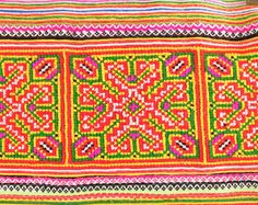 Vintage Hmong Embroidered Fabric with beautiful cross-stitch Technic. Hmong Clothing, Hmong People, Sewing Patterns, Cross Stitch, Textiles, Embroidery, Fabric, Inspiration, Goodies
