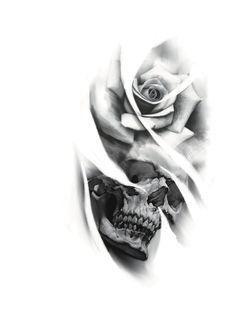 Skull Tattoo Flowers, Skull Rose Tattoos, Rose Tattoos For Men, Tattoos For Guys, Chicano Art Tattoos, Forarm Tattoos, Body Art Tattoos, Skull Tattoo Design, Tattoo Design Drawings