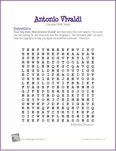 Antonio Vivaldi | Composer Word Search Worksheet - http://makingmusicfun.net/htm/f_printit_free_printable_worksheets/antonio-vivaldi-word-search-worksheet.htm