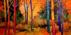 Wonders 2 mixed media tree landscape Carol Nelson Fine Art, painting by artist Carol Nelson