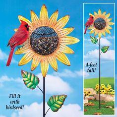 Unique Bird Feeder Large Sunflower Garden Stake with Sparkling Glitter 4 Feet  #BirdFeeder #Unique #Bird #Feeder #LargeSunflower #GardenStake #Sparkling #Glitter #OutdoorLiving #SeedFeeder #YardDecor #HomeDecor #GardenDecor #4Feet