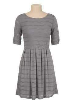 Cinched Sleeve Textured Dress (original price, $39) available at #Maurices
