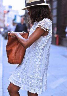 White Plain Lace Double-deck Round Neck Sleeveless Dress
