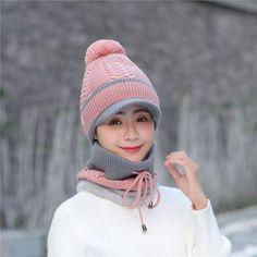 0382b5e49fd Women Winter Thick Knitted Beanie Cap Scarf Set Outdoor Windproof Plus  Plush Ear Warm Collar Hat