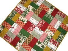 Christmas Quilted Table Topper, Traditional Scrappy Patchwork, Square Christmas Table Mat, Red Green Gold, Quiltsy Handmade by VillageQuilts on Etsy