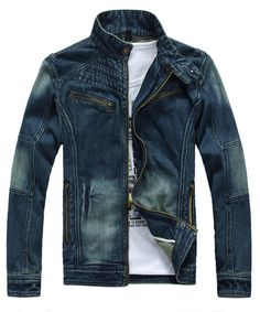 Men Blue Jean Jacket S/M/L/XL/XXL@1408JK07_1