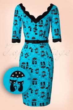 Looking fabulous has never been so easy in this 50s Jade Cat Pencil Dress!Sassy, eyecatching pencil style featuring 3