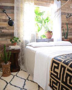 fresh linen #bedroomdecor - macrame curtain, moroccan beni ourain rug, nagaland stool/table, african kuba cloth congo, borneo backpack, jielde, pilea peperimoides, cactus – : apartmentf15