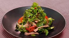 Warm beef and watercress salad (bo xao sa lat song) | Luke Nguyen's quick and easy recipe for a beautifully fresh Vietnamese salad, with peppery watercress, stir-fried garlicky beef, and a lovely vinaigrette dressing - garnished with as much chilli as you like.