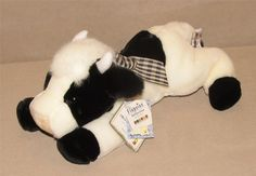 "Aurora Flopsies Black & White Bossie Cow Plush Bean Bag Toy 11"" Gingham Bow NWT #Aurora"