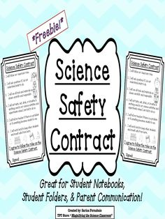 Grab this management freebie! Printable black and white science safety contract to use in student notebooks folders and to send home to parents! Great way to start the year! - Education and lifestyle Science Classroom, Teaching Science, Science For Kids, Science Activities, Kindergarten Science, Science Fun, Elementary Science, Science Ideas, Classroom Ideas