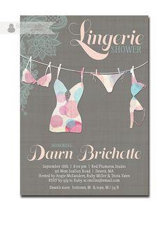 Lingerie Shower Invitation Lace Pink Aqua Teal Shabby Chic Modern Bridal Personal Shower Invitation DIY Digital or Printed - Dawn Style via Etsy
