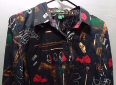 Lauren Ralph Lauren Long Sleeve Cotten Button Shirt Large Casual horses Rodeo #LaurenRalphLauren #ButtonDownShirt