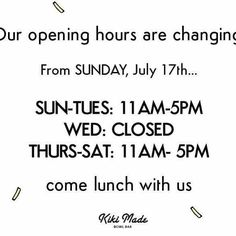 Tonight will be the last dinner time for a while, we are changing opening hrs :) come lunch with us!!! 🌞