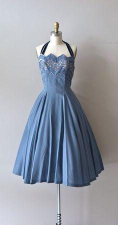 Estrella halter dress / 1950s party dress / vintage by DearGolden, $224.00