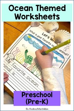 These Ocean Worksheets for preschool (pre-k) are great for your little learners. They will enjoy completing these Ocean themed worksheets that support some basic math and literacy concepts. You can… More Preschool Printables, Preschool Worksheets, Preschool Activities, Summer Worksheets, April Preschool, Tracing Shapes, Handwriting Activities, Basic Math, Little Learners