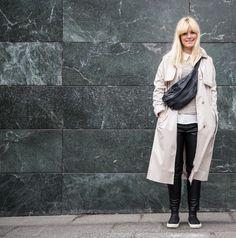 Yvonne Kone - ASOS - Pavement - Zara - leatherpants - trenchcoat - bumbag - bangs