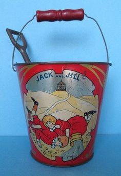 RARE Early 1900s Jack and Jill Tin Litho Sand Pail with Shovel USA