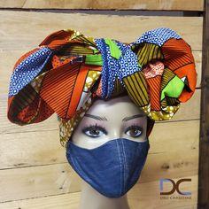 Puzzled Turban Head wrap + Denim Mask