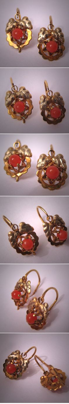 Antique Victorian Earrings Gold Coral