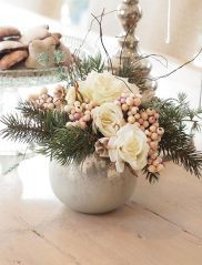 Roses with Spruce and Berries in a White mottled Silver Bowl