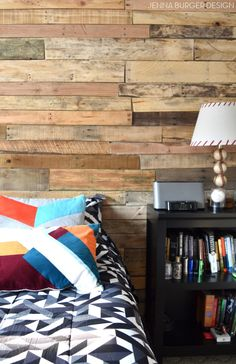 Teen Room Revamp: A pallet wall was added to the focal / bed wall and geometric patterns in bold colors were layered in. Check out more of this space + SOURCES @ www.JennaBurger.com