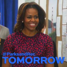 IDC if I'm pinning Michelle Obama's Parks and Rec promo TODAY. Why am I just now finding out that her bangs graduated to layers?!