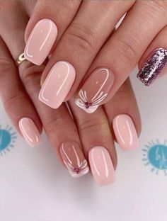 - Acrylic short square nails design for summer nails, Short square nails color ideas, Natural gel short square nails design, Pretty and cute acrylic nails design Elegant Nails, Stylish Nails, Trendy Nails, Fancy Nails, Pink Nails, Toe Nails, Coffin Nails, Square Nail Designs, Nail Art Designs