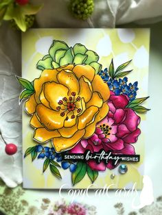 Little Flowers, My Flower, Sharon White, Leaf Stencil, Digi Stamps, Copic Markers, I Card, Card Stock, Giveaway